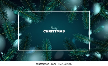 Merry Christmas banner, abstract festive background with fir tree forest vector promo poster design template