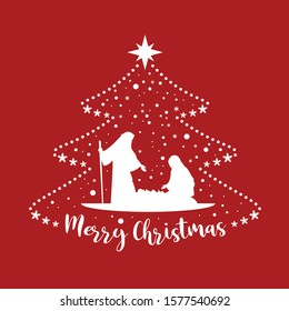 Merry Christmas banner card with scenery mary and joseph in a manger with baby Jesus and snow sign in abstract christmas tree on red background vector design