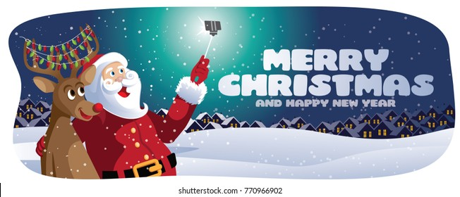 Merry Christmas banner with cartoon Santa Claus and his reindeer taking a selfie. Merry Christmas and happy new year. EPS 10 vector illustration.