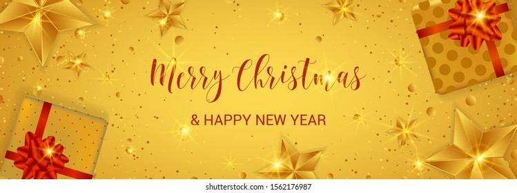 Merry Christmas banner. Cristmas festive background with objects and golden decoration