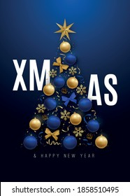 Merry Christmas banner. Decorative Christmas tree with 3d shiny and blue and golden balls. Xmas template for posters, flyers, covers and invitation. Stock vector illustration.