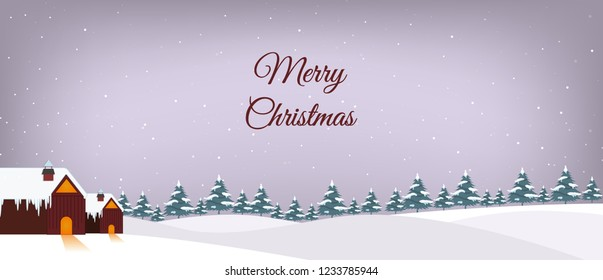 Merry Christmas banner design with landscape snowfall design.