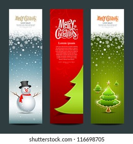 Merry Christmas, banner design vertical background set, vector illustration