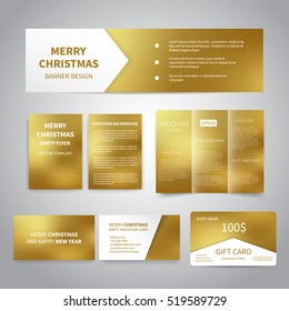Merry Christmas Banner, flyers, brochure, cards, gift card design templates set on gold background. Merry Christmas and Happy New Year party invitation and promotion printing