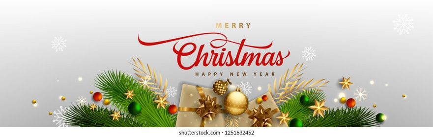 Merry Christmas banner, Glasses champagne with gifts box, pine green, bright snowflakes, Xmas lights garland. Horizontal poster, greeting card, headers, website. Objects viewed from above. Top view