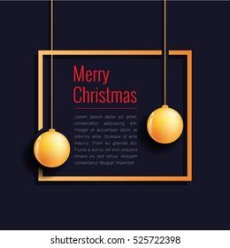 Merry christmas banner golden sphere red