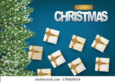 Merry Christmas banner. Green fir tree branches on blue background with falling snow and white and golden gift boxes with bows. Realistic 3d vector illustration.