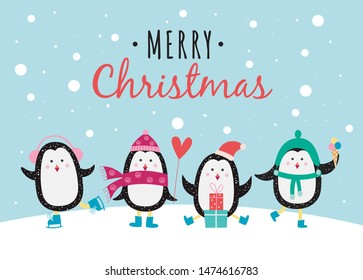 Merry christmas banner or greeting card with cute cartoon characters of penguins in winter hats and skate flat vector illustration background. Winter and New Year template.