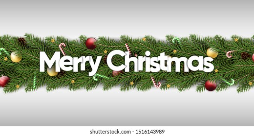 merry christmas for banner greeting card and gift card on white background. christmas decoration with ball candy cane pine branch. christmas pine tree wreath decor. vector illustration.