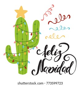 Merry Christmas banner. Happy cactus in a Christmas garland. Cute vector greeting card, print, label, poster, sign. Title in Spanish. Vector illustration. Hand drawn mexico design. Hand lettering
