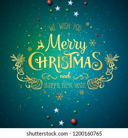 Merry Christmas banner Happy Christmas card Santa Claus, flyer Party design template. Vector illustration greeting card blue background
