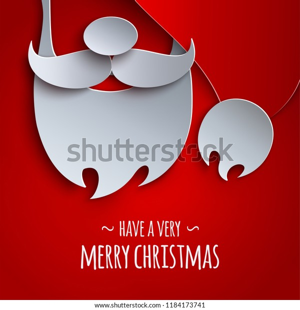 Merry christmas banner, holiday design. Red background, 3d paper cutout hat, mustache, beard of Santa Claus for poster, greeting card. Text merry christmas. Paper cut out style, vector illustration