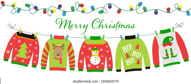 Merry Christmas banner with Lights Garland and Hanging Ugly Sweaters set.  Xmas Party decoration