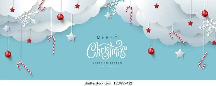 Merry Christmas banner or party invitation background. Merry Christmas vector text Calligraphic Lettering Vector illustration.