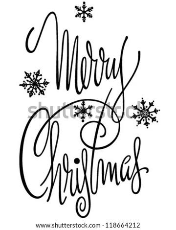 Merry Christmas Banner Retro Clipart Illustration Stock Vector