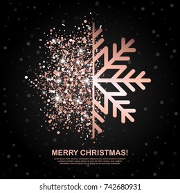 Merry Christmas banner with Rose Gold Glowing Snowflake on black geometric background. Vector Illustration. All isolated and layered