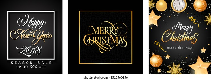 Merry Christmas banner set with golden baubles on black ground. Calligraphy with decorative design can be used for invitations, post cards, announcements