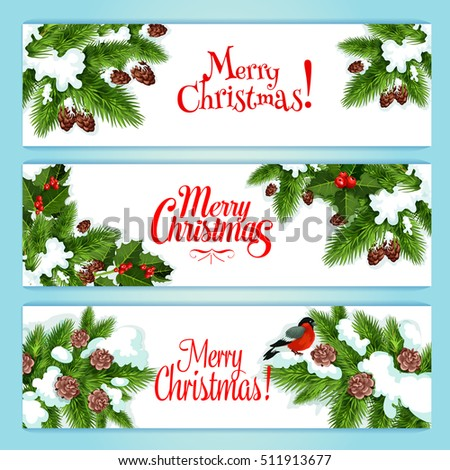 merry christmas banner set holly berry and xmas tree green branches with red ilex fruit - Merry Christmas Banner