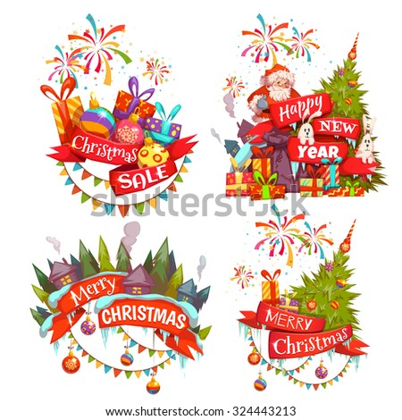 merry christmas banner set with santa claus ribbon and pine vector illustration