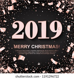 Merry Christmas Banner with shiny Rose 2019 Numbers on black Background with scattered geometric and foil paper Confetti. Vector illustration. All isolated and layered