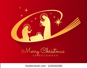 Merry Christmas banner sign with Gold Nightly christmas scenery mary and joseph in a manger with baby Jesus and Meteor on red background vector design