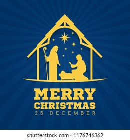 Merry Christmas banner sign with Nightly christmas scenery mary and joseph in a manger with baby Jesus vector design