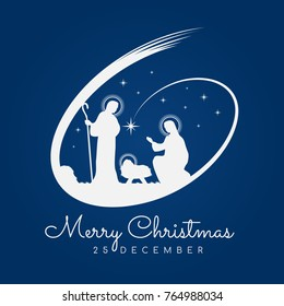 Merry Christmas banner sign with Nightly christmas scenery mary and joseph in a manger with baby Jesus and Meteor on blue background vector design