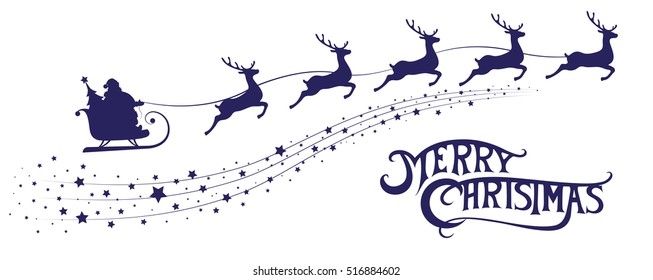 Merry Christmas banner. Silhouette Santa Claus in sleigh with deers flying on stars background. Design elements for decoration holiday poster, flyer, greeting card. Cartoon style. Vector illustration
