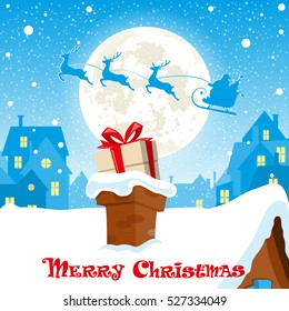 Merry Christmas banner. Silhouette of Santa Claus in sleigh with deers flying on moon background. Gift box in the chimney city rooftops. Concept poster, greeting card, flyer. Cartoon style. Vector