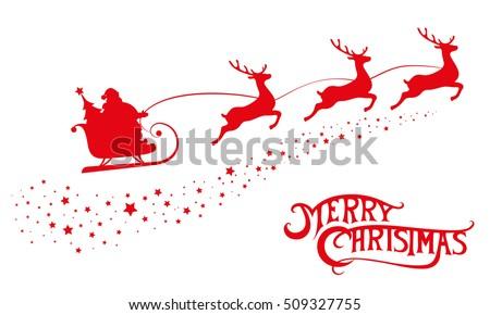 merry christmas banner silhouette santa claus stock vector royalty
