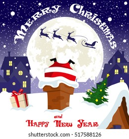 Merry Christmas banner. Silhouette sleigh with deers flying on moon background. Santa Claus stuck in the chimney city rooftops. Gift box. Concept poster, greeting card, flyer. Cartoon style. Vector