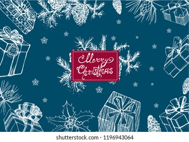 merry Christmas banner, vector illustration, gift, snowflake, fir cones, white outlines on blue background