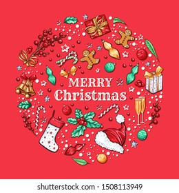 Merry Christmas banner vector template. Winter holiday social media post layout with Xmas tradition wish. New Year season symbols, mistletoe branch with berries icons on red background