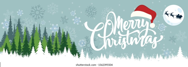 Merry christmas banner with winter landscape background. Card Design includes calligraphy, snowflakes, xmas trees, moon, santa cap and flying santa with holiday deer. Vector illustration