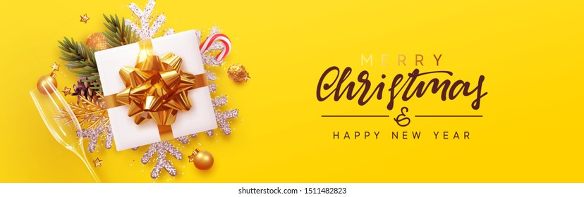 Merry Christmas banner, Xmas bauble with gifts box and snowflake glitter, glasses champagne. Horizontal Christmas posters, greeting card, header, website. Objects viewed from above. Flat lay, Top view