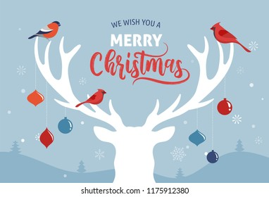 Merry Christmas banner, Xmas template background with deer silhouette, vector illustration