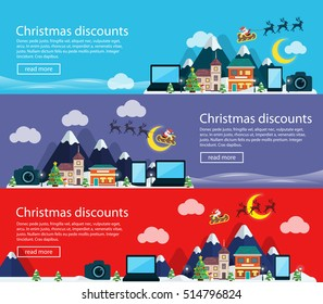Merry Christmas banners in flat style. Christmas and New Year's sale of electronics. Mobile phone, laptop and camera. Template for advertising in social networks and email lists. Vector illustration