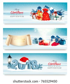 Merry Christmas Banners with magic box and presents. Vector