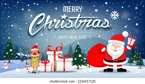Merry Christmas Banners Santa Claus and reindeer smile on snowflake blue background, vector illustration