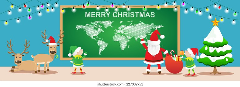 Merry Christmas banners.Cartoon styles with santa claus,elfs and reindeers work in christmas room.Vector illustration