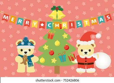 Merry Christmas bears cartoon on pink star pattern background