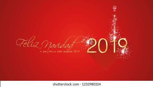 Merry Christmas beautiful calligraphy New Year 2019 Spanish language Feliz Navidad y un Feliz Ano Nuevo gold white red greeting card