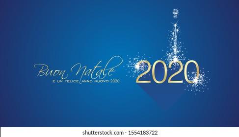 Merry Christmas beautiful calligraphy New Year 2020 Italian language gold white blue greeting card