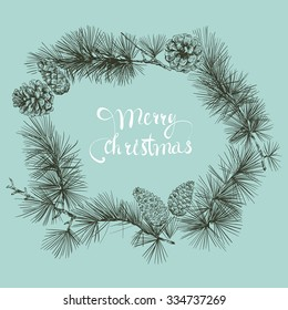 Merry Christmas beautiful letters banner design. Hand drawn vector illustration