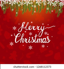 Merry Christmas. Beautiful phrase for your design. Christmas vector beautiful background. Sparkling background with Christmas tree and a garland.