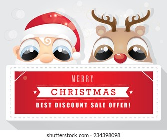 merry christmas best offer discount sale tag with santa claus and red nose reindeer