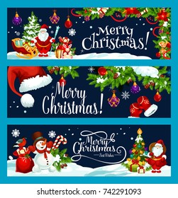 Merry Christmas and best wish greeting banners design template. Vector Santa gift bag at Christmas tree, snowman on sleigh and Xmas decorations on snow for winter holiday seasonal celebration