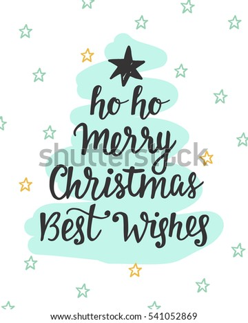 Merry Christmas Best Wishes Fir Tree Stock Vector Royalty Free