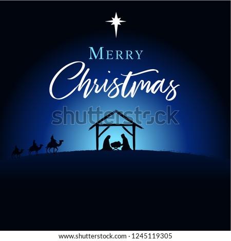 Merry Christmas Birth Christ Greeting Card Stock Vector
