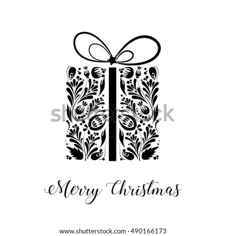 Merry Christmas Black White Christmas Card Stock Vector Royalty